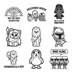 Digital Image Set, Star Wars™ - Size Matters Not 18 single-layer images Create with variety of adorable kawaii-inspired Star Wars images Ideal for S Lego Invitations, Star Wars Karten, Star Wars Desenho, Star Wars Tattoo, Star Wars Logos, Star Wars Shirt, Star Wars Font, Star Trek, Vinyl Projects