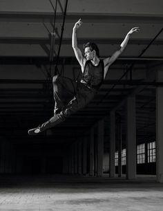 Sergei Polunin dances for the pages of  Vogue Hommes Paris.