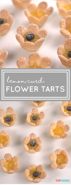 Lemon Curd Flower Tarts Recipe — The best summer desserts are light, sweet and easy. These tarts are all of those things — and they're adorable! All you need to make these little beauties are homemade pie or pre-made pie crust, lemon curd and blueberries! The results are so precious, your guests will think you spent all day on them. Click to watch how easy they are to make, then whip some up to add a little delight to your day!  #sweettreats #desserts #baking