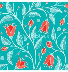 Seamless floral pattern vector - by Slanapotam on VectorStock®