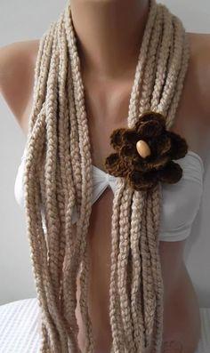 Beige Knitted infinity  Scarf  Elegant Scarf