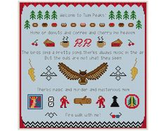 Twin Peaks Sampler Cross Stitch PDF Pattern by StitchFusion