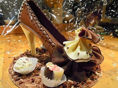 Chocolate shoe made by Abbotts Chocolates (aka Dennis) of Langholm, Scotland, and won by me in a raffle. #chocolate, #food