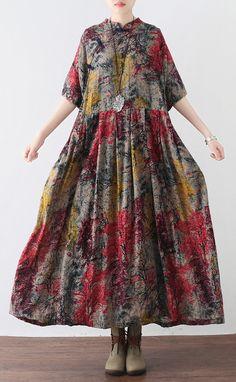 baggy prints long cotton dress trendy plus size elastic waistlinen clothing dress boutique big hem maxi dress