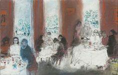 Intérieur de restaurant  -  Jean Fusaro  French, b.1925-  Pastel, 31 x 50 cm. (12.2 x 19.7 in.) Pastel, Restaurant, Painting, Artists, Twitter, Stone, Kunst, Cake, Diner Restaurant