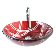 Modern Fashion Round Red Tempered Glass Basin High-bending Faucet Set