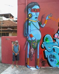 Brazilian graffiti : Mural by Cranio.