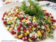 KARNIBAHAR, NAR, karnıbaharlı tarifler, narlı tarifler, karnıbahar salatası, salata tarifleri, nursevince salatalar,