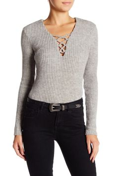 Long Sleeve Chunky Rib Lace Up Bodysuit by OnTwelfth on @nordstrom_rack