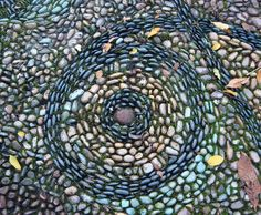 River Rock Mosaic with Mossy Grout | Flickr - Photo Sharing!