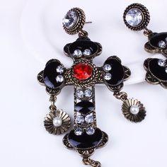 Moda de europa y américa joyería de la muchacha de la novia de regalo retro bohemio palacio barroco largo cross rhinestone pendientes