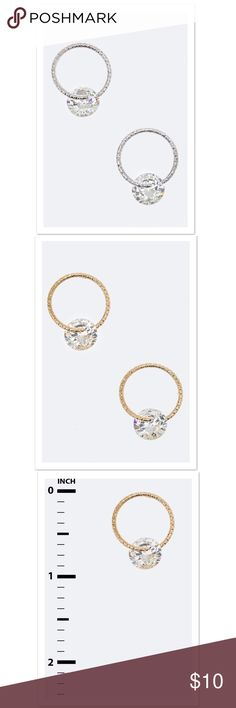 {The Allie} CZ Ring Hoop Studs Cubic Zirconia Ring Stud Earrings 	Available in Silver and Gold 	Earrings are approximately  1.5 inches long 	Lead and Nickel Compliant faith and sparkle Jewelry Earrings