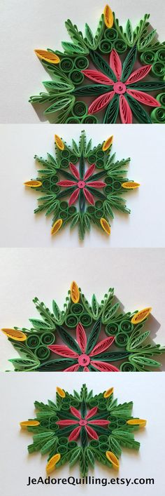Snowflake Green Yellow Pink Christmas Tree Decoration Winter Ornaments Gifts Toppers Fillers Office Corporate Paper Quilling Quilled Art