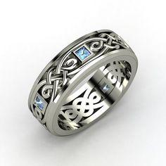 Happy Birthday..Dec.28.........Alhambra Knot Band - Men's 14K White Gold Ring with Blue Topaz | Gemvara
