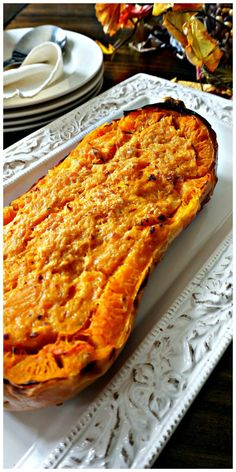 Parmesan Butternut Squash Bake: Twice baked butternut squash has been flavored with butter and parmesan to enhance the natural nutty flavor of the squash.
