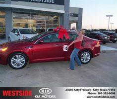#HappyAnniversary to Kimberly Murdock on your 2013 #Kia #Optima from Everyone at Westside Kia!