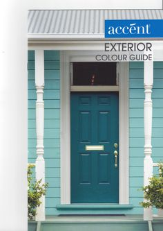 Accent Exterior Colours (Door: Japanese Fern; Weatherboards: Mineral Deposit; Trim: White Wave). I'm not sure why exactly, but this house colour combination appealed to me so much that I took the brochure home from the shop, even though we are only painting the office interior ;). And we have a brick house :). Weatherboard Exterior, Color Combinations Home, Outdoor Buildings, Front Door Colors, Coastal Cottage, House Front, Exterior Colors, Office Interiors, House Colors