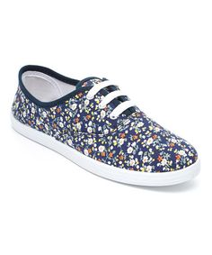 Another great find on #zulily! Navy Floral Sneaker by Transco #zulilyfinds