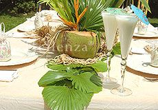 Relaxing colors in green, ivory, and tan make this party table mimic an elegant tropical beach! » Click to view slideshow