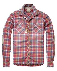 Checkered long-sleeved shirt with elbow patches by Scotch & Soda