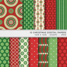 Christmas Printable Digital Paper Pack Printable Red & Green Patterns by AzmariDigitals