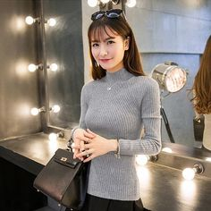 New Spring Fashion Women sweater high elastic Solid Turtleneck sweater  women slim sexy tight Bottoming Knitted Pullovers 98f12d98e