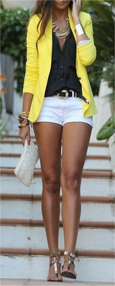 Cute classy outfit with a clash of yellow! #yellow #blazer #pretty #shorts #summeroutfit #summertimefine #fine #pretty #cute #fashion #style
