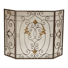 New French Tuscan Iron Fireplace Fire Screen Tri-Fold Three Panel Fleur De Lis, Antoinette Style, Interior Design, Living Room, Bedroom, Dining Room, Home Office, Study, Library, Bronze, Rust, Antique Gold, Mesh, Tri-fold, Three Panel Screen, Acanthus Leaf Details Scrollwork, Wrought Iron, Architectural Digest, Traditional Home, Elle Decor, House Beautiful