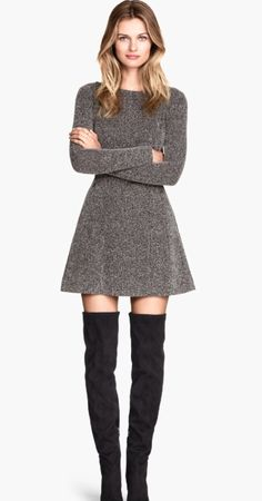 Gray A-line sweater dress