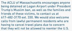 #Media #Oligarchs #MegaBanks vs #Union #Occupy #BLM #Humanity  We encourage anyone being detained at Logan under #MuslimBan, as well as their families/friends, to contact us at 617-482-3170 ext. 330   https://twitter.com/ACLU_Mass/status/825447034505265152