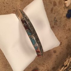 Turquoise & Coral Inlay Navajo dome Sterling Silver Cuff Signed