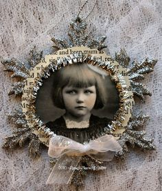 Shabbiest of Chic Christmas Ornament Inspiration * Silver Snowflake Assemblage Ornament * Love the great use of a vintage photo!!