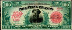 A hundred-peso bill in 1916 Philippine Peso, Jose Rizal, Filipino Culture, Filipiniana, Philippines Travel, Manila, Homeland, Seals, Postage Stamps