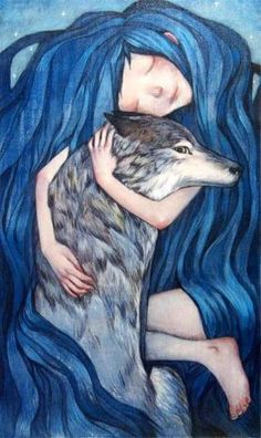Protection (by Lucy Campbell) [blue hair] [wolf]