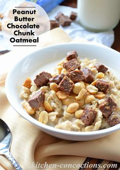 "Peanut Butter Chocolate Chunk Oatmeal {Plus My Favorite ""On The Go"" Snacks} #recipe #BarNutrition #shop #breakfast #snack"