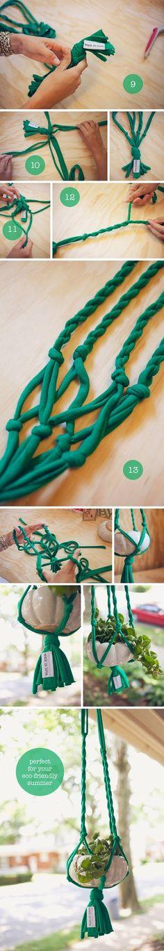 DIY: t-shirt plant hanger.