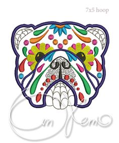 MACHINE EMBROIDERY DESIGN - Calavera bulldog, Dia de los muertos, Mexican design, Halloween design, calavera dog, Day of the dead