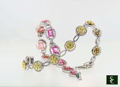 Turn heads with one of these diamond bracelets. #Pink #Sapphire #Yellow #Diamonds #Fashion #Jewelry #Bracelet