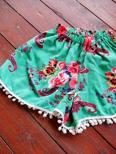 Pom Pom Shorts. Mint green floral by StudioCreativeDesign on Etsy $29.00 This would be great for days at the pool or beach