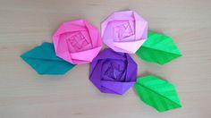 折り紙 バラの花と葉 簡単な折り方(niceno1)Origami Roses flower and leaves
