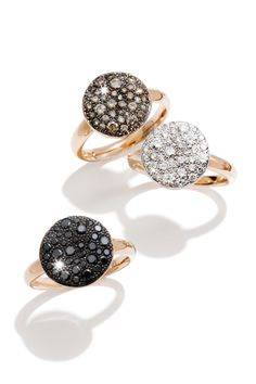 Pomellato's gorgeous 18k rose gold sabbia rings are available in numerous sizes with brown diamonds, white diamonds or black diamonds. Starting at $2,800.