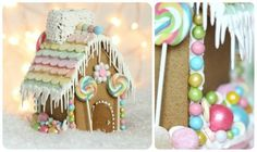simple easy whimsical pastel gingerbread house