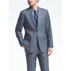 Banana Republic Mens Standard Blue Plaid Wool Suit Jacket ($398) ❤ liked on Polyvore featuring men's fashion, men's clothing, blue, men's apparel, banana republic mens clothing, mens clothing, mens overalls and mens bib overalls