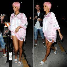 Rihanna in Joyrich Paris 28 Athletic Big pink tee, Chanel grey slide sandals.