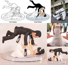 Bride Throwing Groom Over Her Head Jiu Jitsu Wedding Cake Toppers