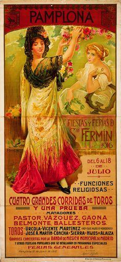 Cartel de los Sanfermines de 1916 - Ferias y fiestas de San Fermín, Pamplona :: Autor: Juan García de Lara. #Pamplona