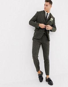 ASOS DESIGN wedding slim suit jacket in green wool mix herringbone ... 77d4a9e2bfd
