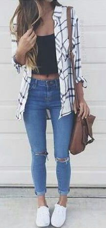 summer fashion tartan shirt ripped denim