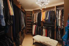 The interior of host Jennie Garth's walk-in closet is open with a modern touch, as seen on The Jennie Garth Project.
