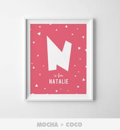 Personalized Gift Initial Poster Custom Baby Name by MochaAndCoco